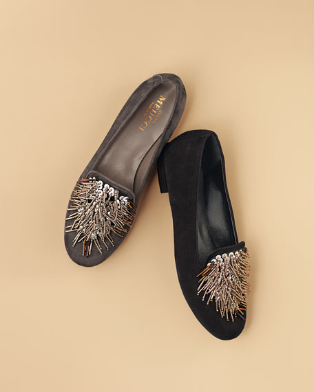 Kamile Embellished Suede Loafer, Black