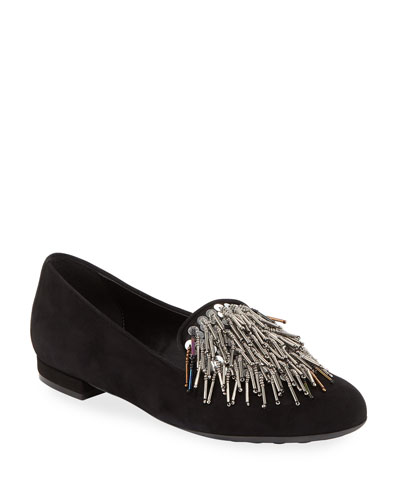 Kamile Embellished Suede Loafer, Black