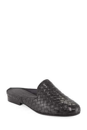 Sesto Meucci Nixie Woven Calf Slide Mule, Black