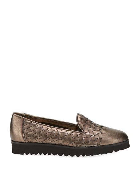 Naia Woven Slip-On Loafer, Pewter
