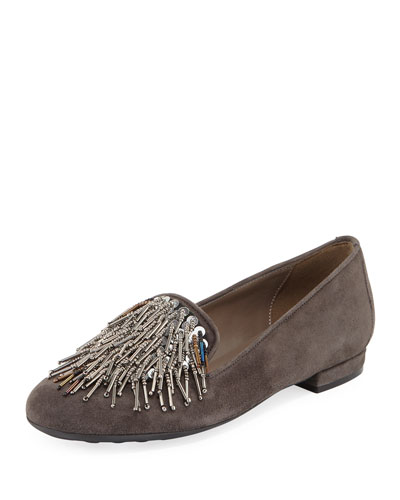 Kamile Embellished Suede Loafer, Dark Beige