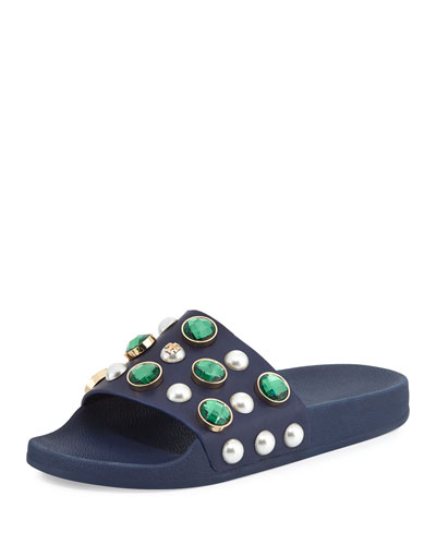 Vail Jeweled Flat Slide Sandal