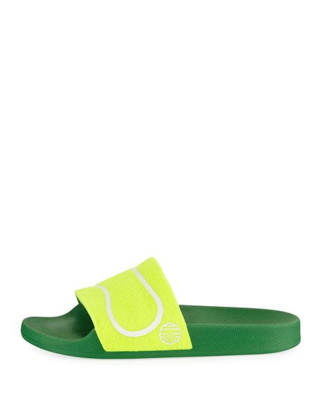 Tennis Ball Flat Slide Sandal, Yellow