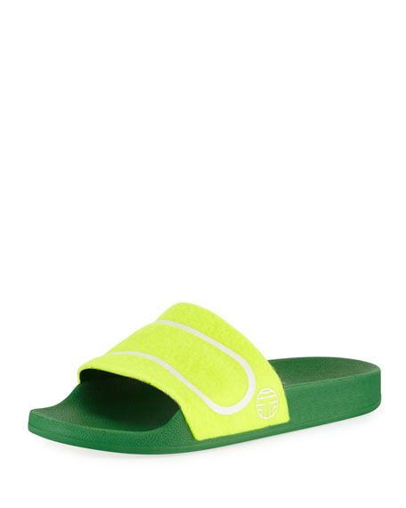 Tory Sport Tennis Ball Flat Slide Sandal, Yellow