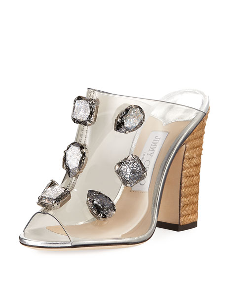 Jimmy Choo Ling Jeweled Plexi Slide Sandal with