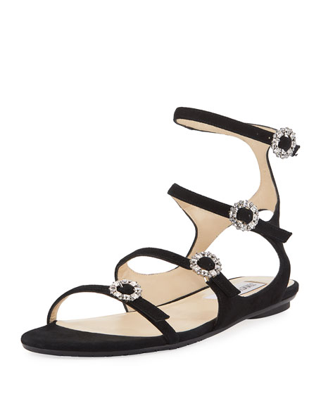 Jimmy Choo Naia Suede Flat Sandal with Crystal