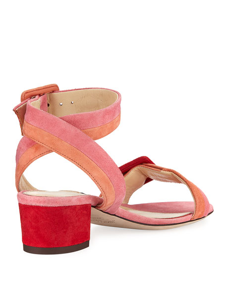 Dacha Low-Heel Suede Colorblock Sandal