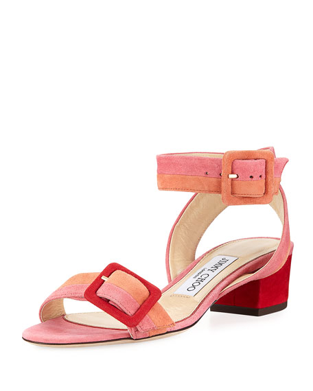 Jimmy Choo Dacha Low-Heel Suede Colorblock Sandal
