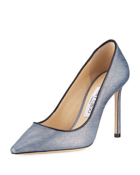 Jimmy Choo Romy Washed Denim 100mm Pump