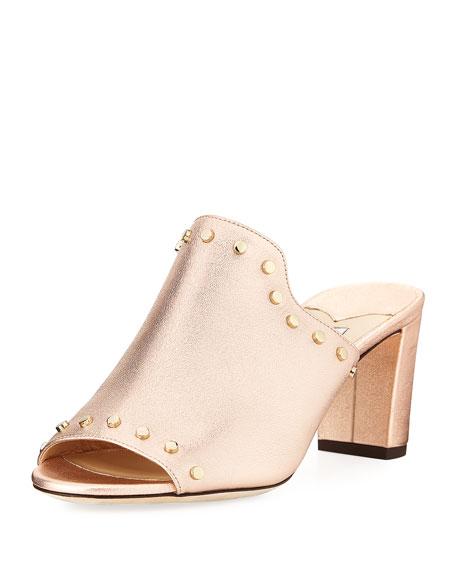 Jimmy Choo Myla Studded Metallic Leather Slide Sandal