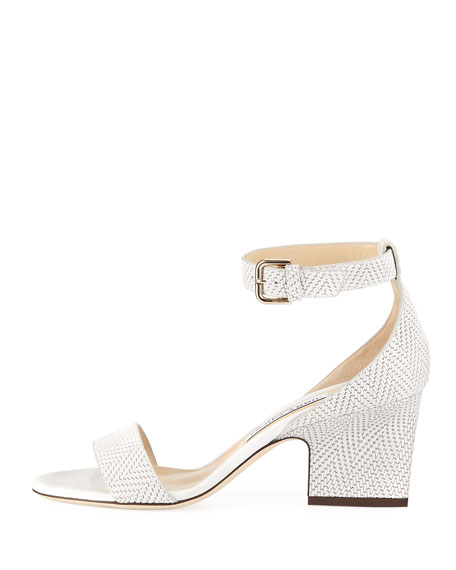 Edina Textured Leather Ankle-Wrap Sandal