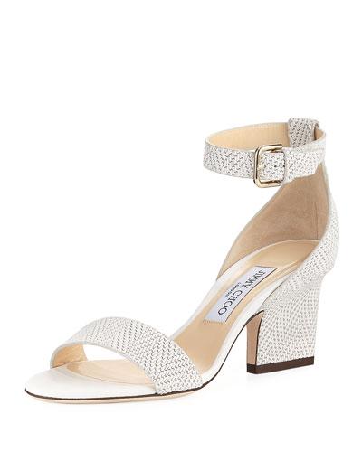 Edina Textured Leather Ankle-Wrap Sandal
