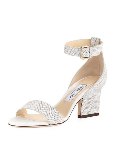 Jimmy Choo Edina Textured Leather Ankle-Wrap Sandal