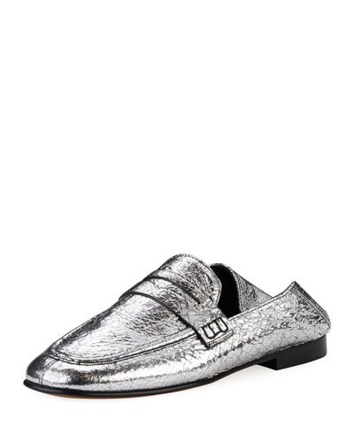 e5217e5d66e Isabel Marant Fezzy Crackled Metallic Loafer Mule