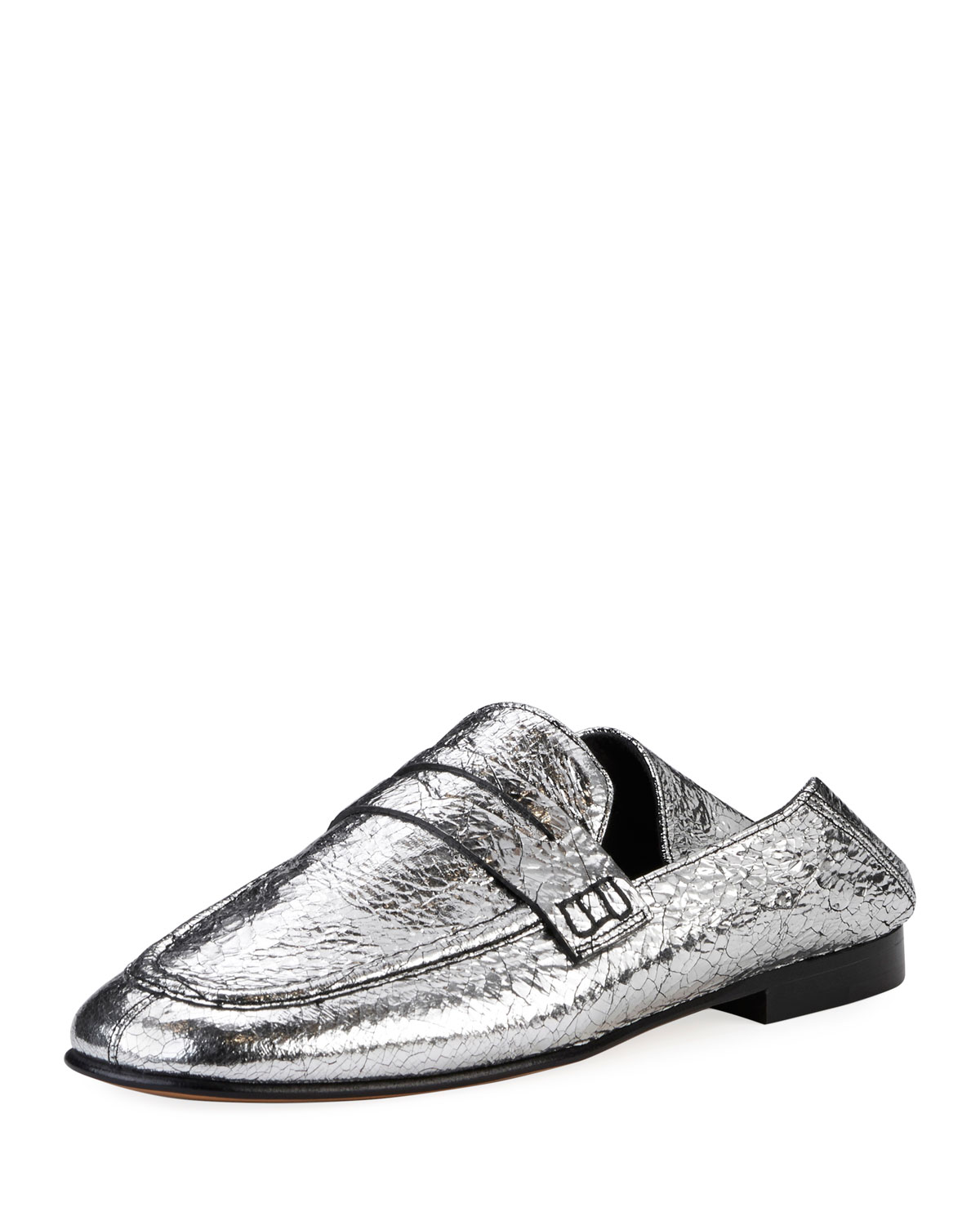 352a266065a Isabel Marant Fezzy Crackled Metallic Loafer Mule