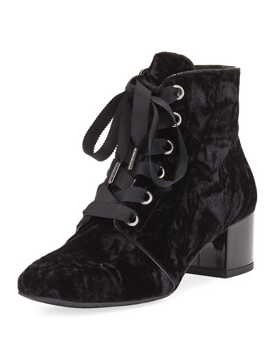 Cortes Lace-Up Velvet Bootie