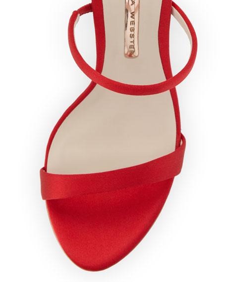 Rosalind Satin Sphere-Heel Sandal, Red
