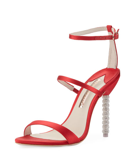 Sophia Webster Rosalind Satin Sphere-Heel Sandal, Red