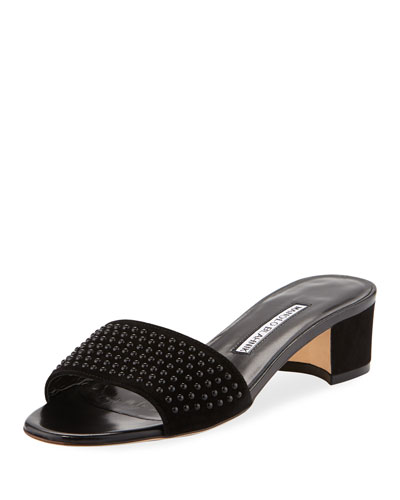 Falcopearl Studded Suede Slide Sandal
