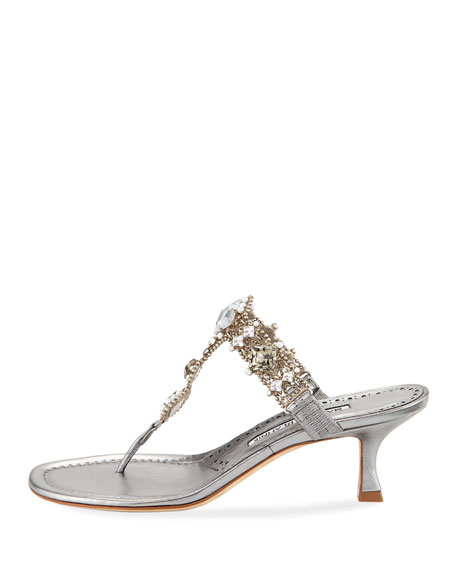 Immro 50mm Jeweled Thong Sandal