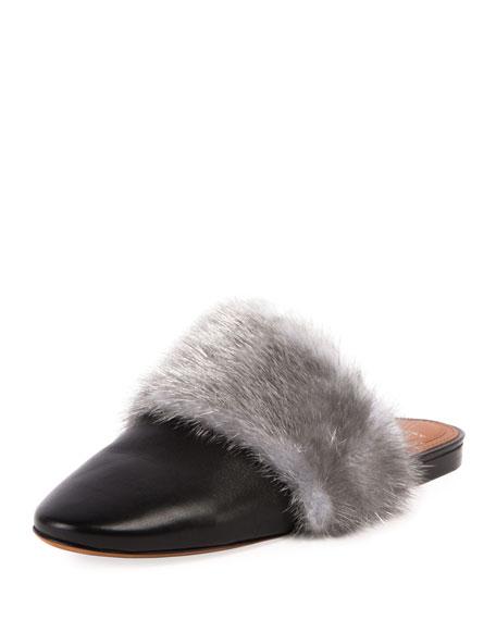 Givenchy Bedford Mink Fur-Trim Mule Flat