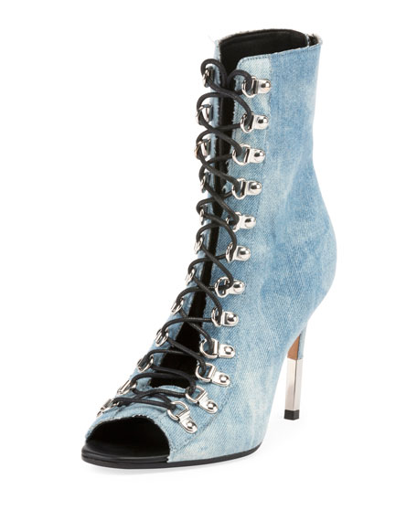 Balmain Club Denim Open-Toe Bootie