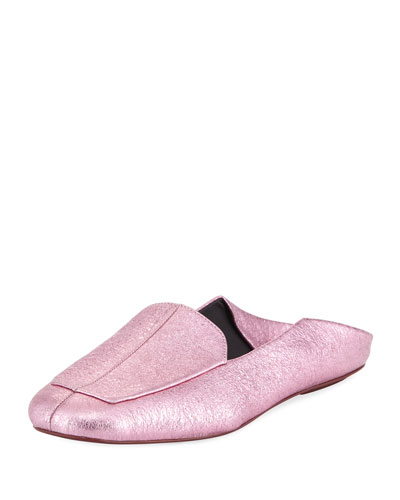 Cecil Crinkled Metallic Slide Loafer