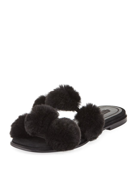 Opening Ceremony Ava Fur Slide Sandals in Black
