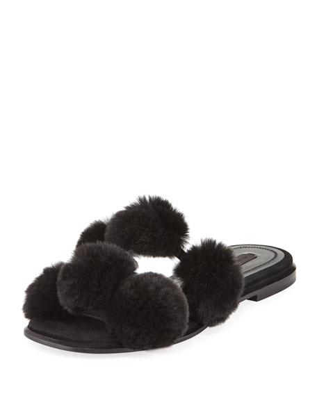 Alexander Wang Ava Fur Pompom Slide Sandal