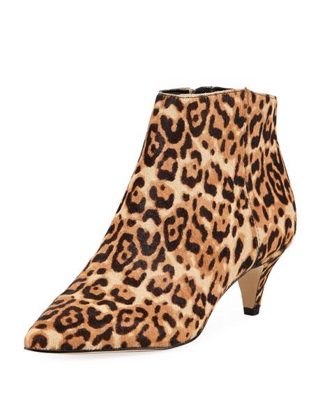 Kinzey Leopard-Print Bootie, Sand