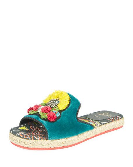 Christian Louboutin Pacha Raffia Red Sole Flat Sandal