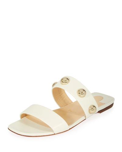 Simple Bille Flat Napa Red Sole Slide Sandal