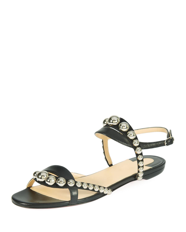 502fcea78c4a Christian Louboutin Galleria Flat Napa Suede Red Sole Sandal ...