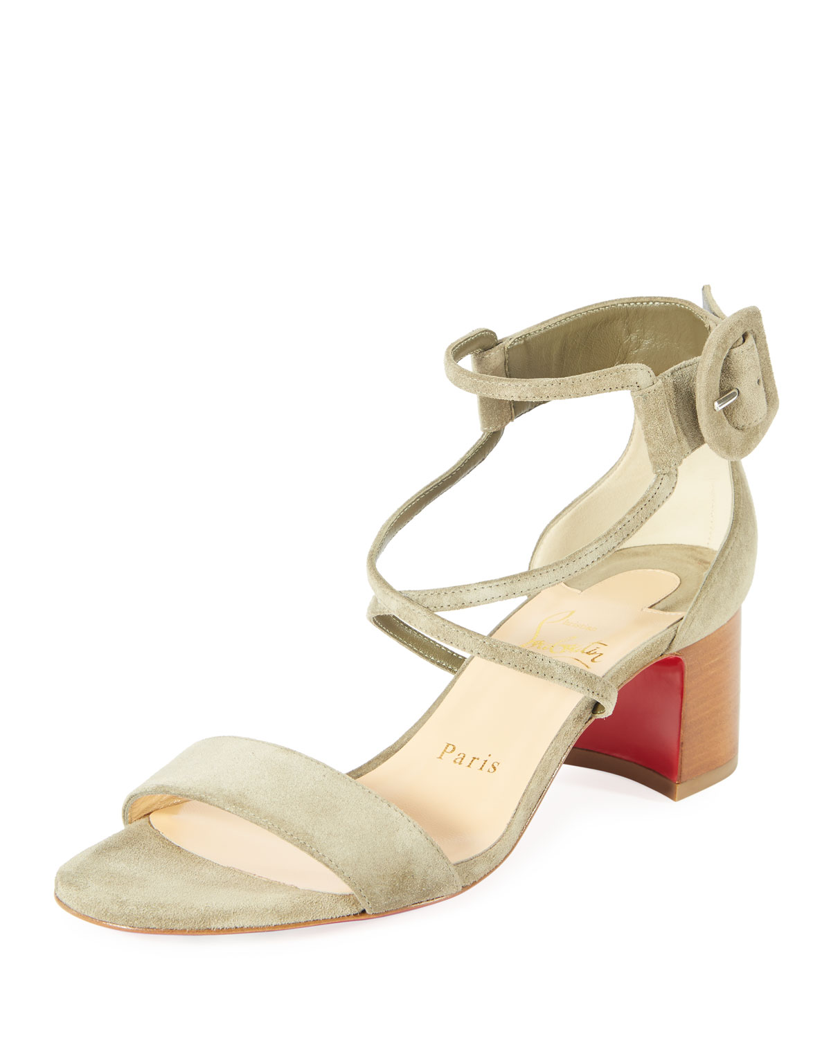 be05879485 Christian Louboutin Choca 55mm Suede Red Sole Sandal | Neiman Marcus