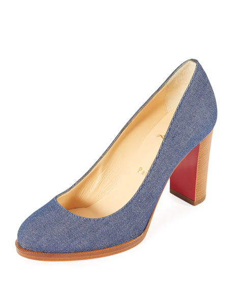 Christian Louboutin London Buche Block-Heel Denim Red Sole