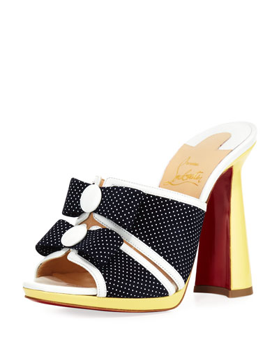 Miss Daisy Dotted Red Sole Slide Sandal