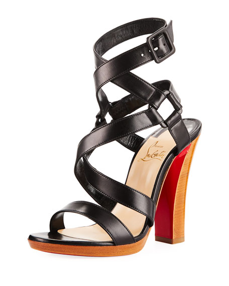 Christian Louboutin Corsini 120 Cross-Strap Red Sole Sandal