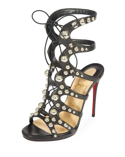 Christian Louboutin Amazoubille 120mm Kidskin Gladiator Red Sole Sandal