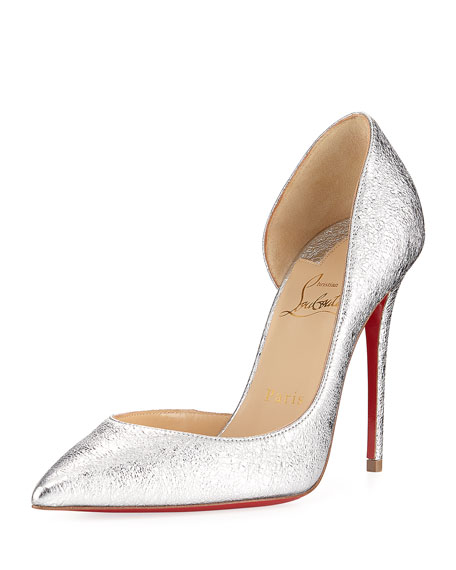 Christian Louboutin Iriza Metallic Half-d'Orsay Red Sole Pump