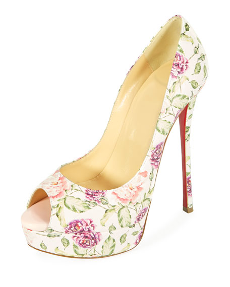 Fetish Peep-Toe Platform Floral Snakeskin Red Sole Pump