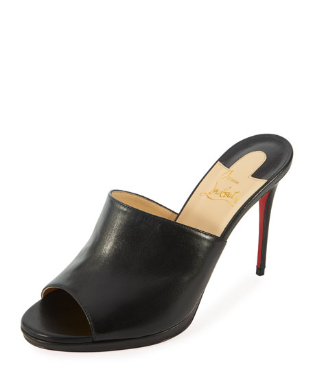 CHRISTIAN LOUBOUTIN Pigamule 100Mm Napa Red Sole Slide Sandal in Black