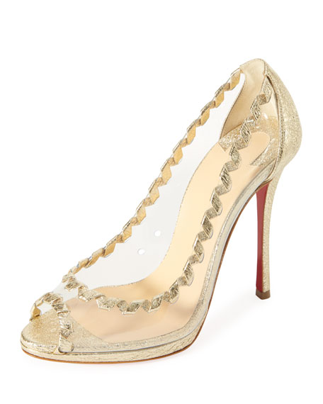 Christian Louboutin Hargaret Transparent Red Sole Pump, Platine
