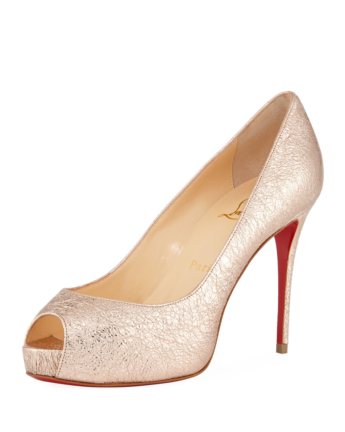 on sale ae9d4 567cd New Very Prive 100mm Crackled Leather Red Sole Pump