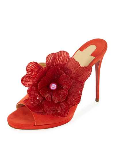 Submuline Flower Red Sole Mule, Bisou
