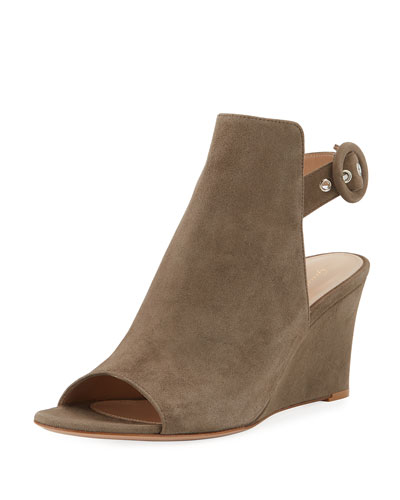 Open-Toe Slingback Wedge Bootie