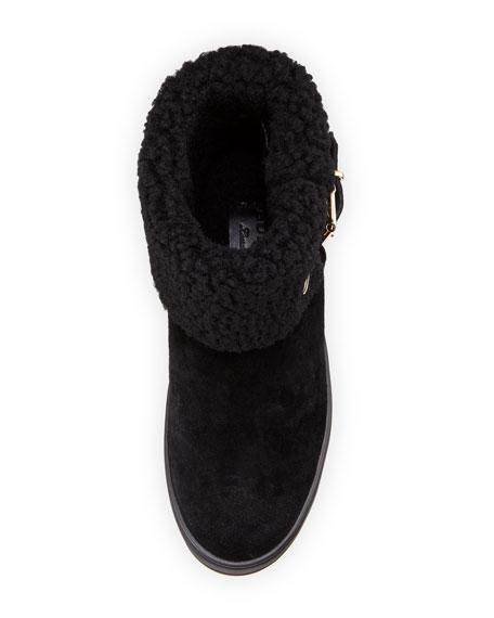 Skillman Fold-Over Suede Boot, Black
