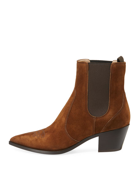 Suede Gored Cowboy Boots