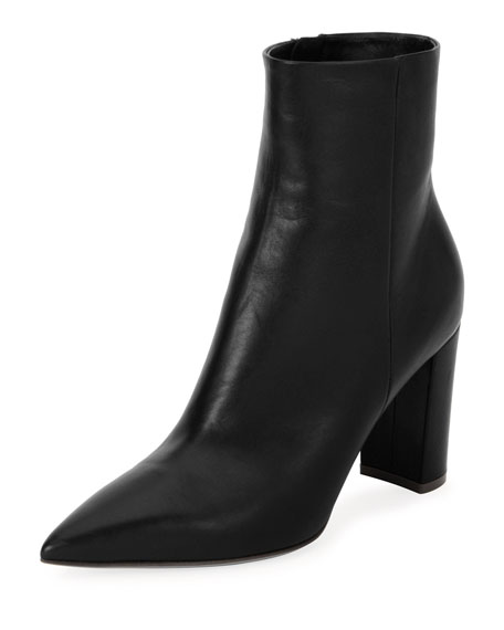 85mm Point-Toe Leather Booties