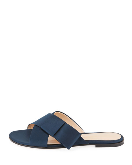 Flat Satin Ribbon Slide Sandal