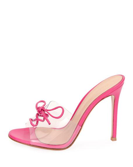 Plexi Lace-Up 105mm Mule Sandal